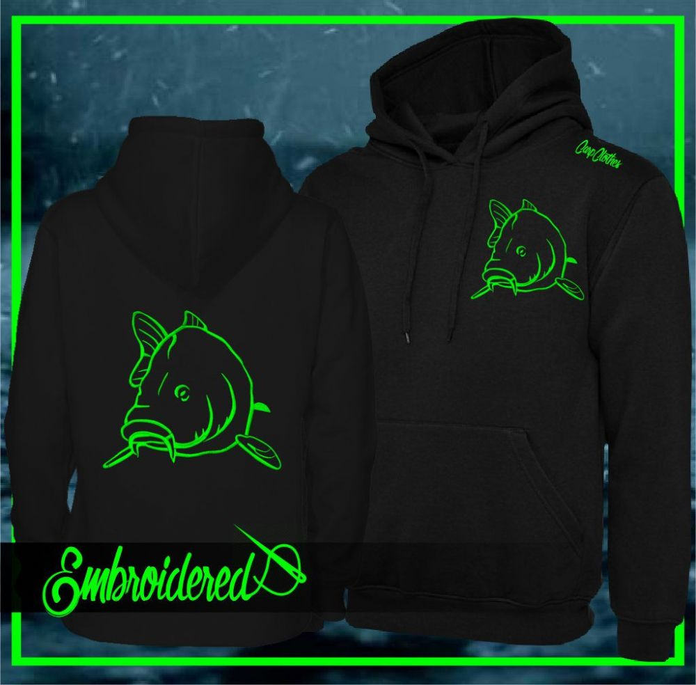 004 NEON EMBROIDERED CARP  HOODIE